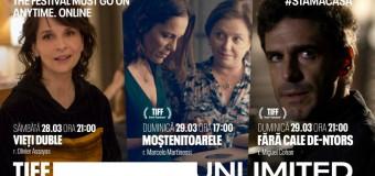#StămAcasă: premiere în weekend și filme difuzate gratuit pe TIFF Unlimited