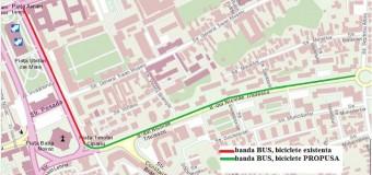 Bandă dedicată transportului în comun și bicicliștilor pe strada Nicolae Titulescu.