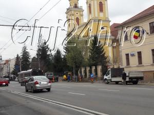 Foto (lucrari trotuare, B-dul 21 decembrie 1989): Arhiva Cluj24h.ro
