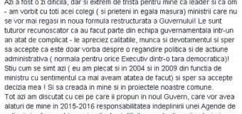 Trei miniştrii au anunţat pe Facebook că vor pleca din Guvern. Unul dintre ei este de la Cluj